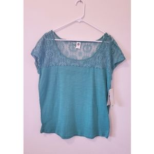 [Roxy] Cap Sleeve Lace Detail Teal Cotton …